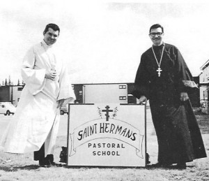 Fr. Paul (right) and Fr. Kreta at the founding of St. Herman's Pastoral School