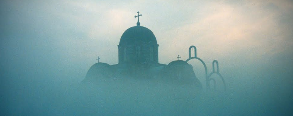 church in mist